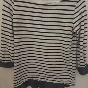 Loft Blue and white striped sweater with collar